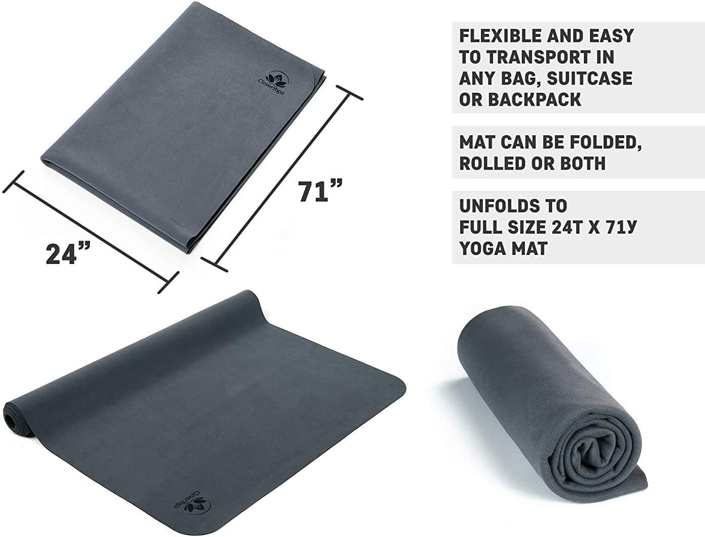 Travel Yoga Mat - Foldable, Absorbent and Machine Washable and Dry - Non Slip Yoga Mats for Bikram and Hot Yoga - YogiOnTheGo Thin Hot Yoga Mat