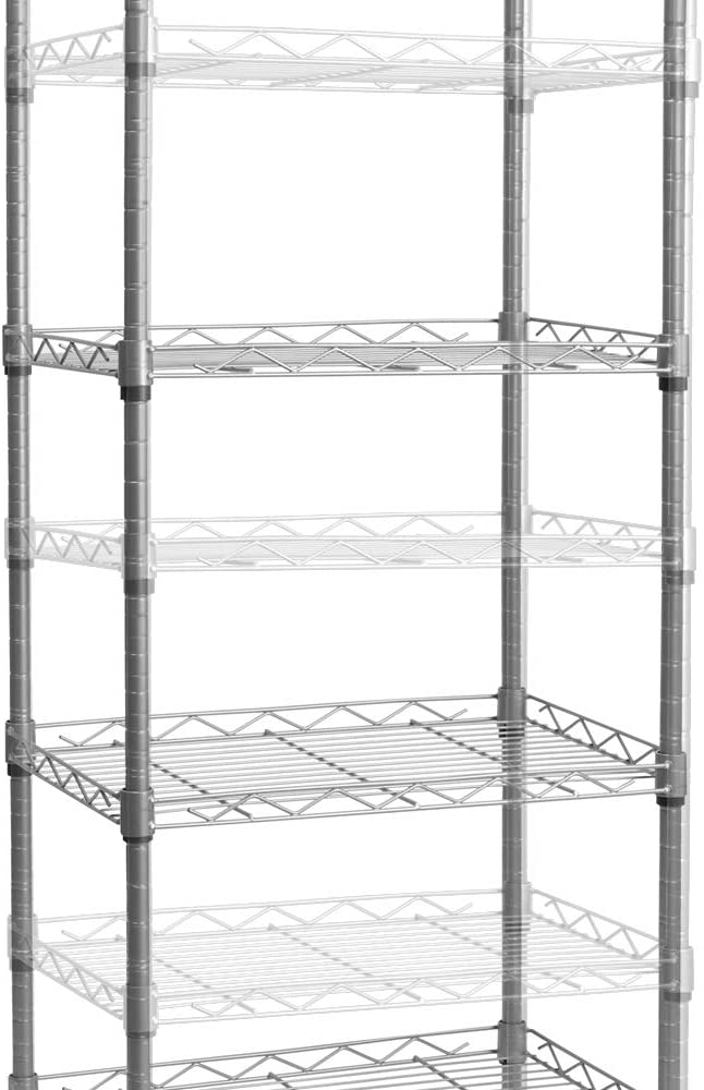 6 Wire Shelving Steel Storage Rack Adjustable Unit Shelves for Laundry Bathroom Kitchen Pantry Closet 16.6 Width x 63 Height x 11.8 Depth Silver