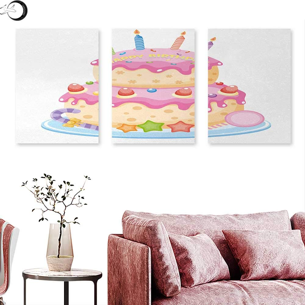 "J Chief Sky Kids Birthday Poster Prints Pastel Colored Birthday Party Cake with Candles and Candies Celebration Image Triptych Wall Art Light Pink W 16"" x L 32"" x3pcs"