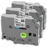 Ruban cassette laminé TZe-231 TZ231, Cassette à cartouche tape, Ruban pour étiqueteuse, Noir sur Blanc, 12 mm x 8m, Compatible Brother P-Touch 1000W 1010 1090 1830VP 2030VP 2100VP 2430PC 2470 2730VP 7100 VP7600VP H100R H300 D200VP (3 Pack)