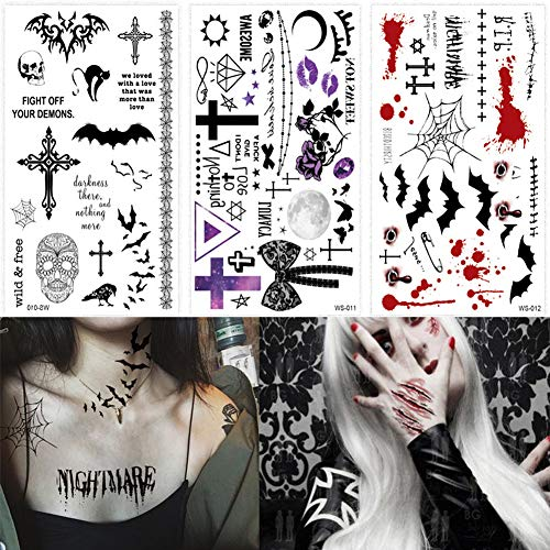 Tattoos Witch - BlueSpace Halloween Temporary Tattoos Body Tattoo Stickers 3 Sheets Fake Scars Spider Bat Wound Blood Waterproof Tattoos for Women Men Cosplay Halloween Party