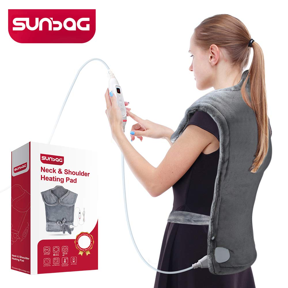 "Sunbag Extra Large 25""×32"" Heating Pad,Dry/Moist Neck & Shoulder Heating Wrap with Fast-Heating,6 Temperature Settings, Auto Shut Off,Machine Washable,Pain Relief for Back,Shoulder,Neck, etc-Gray"