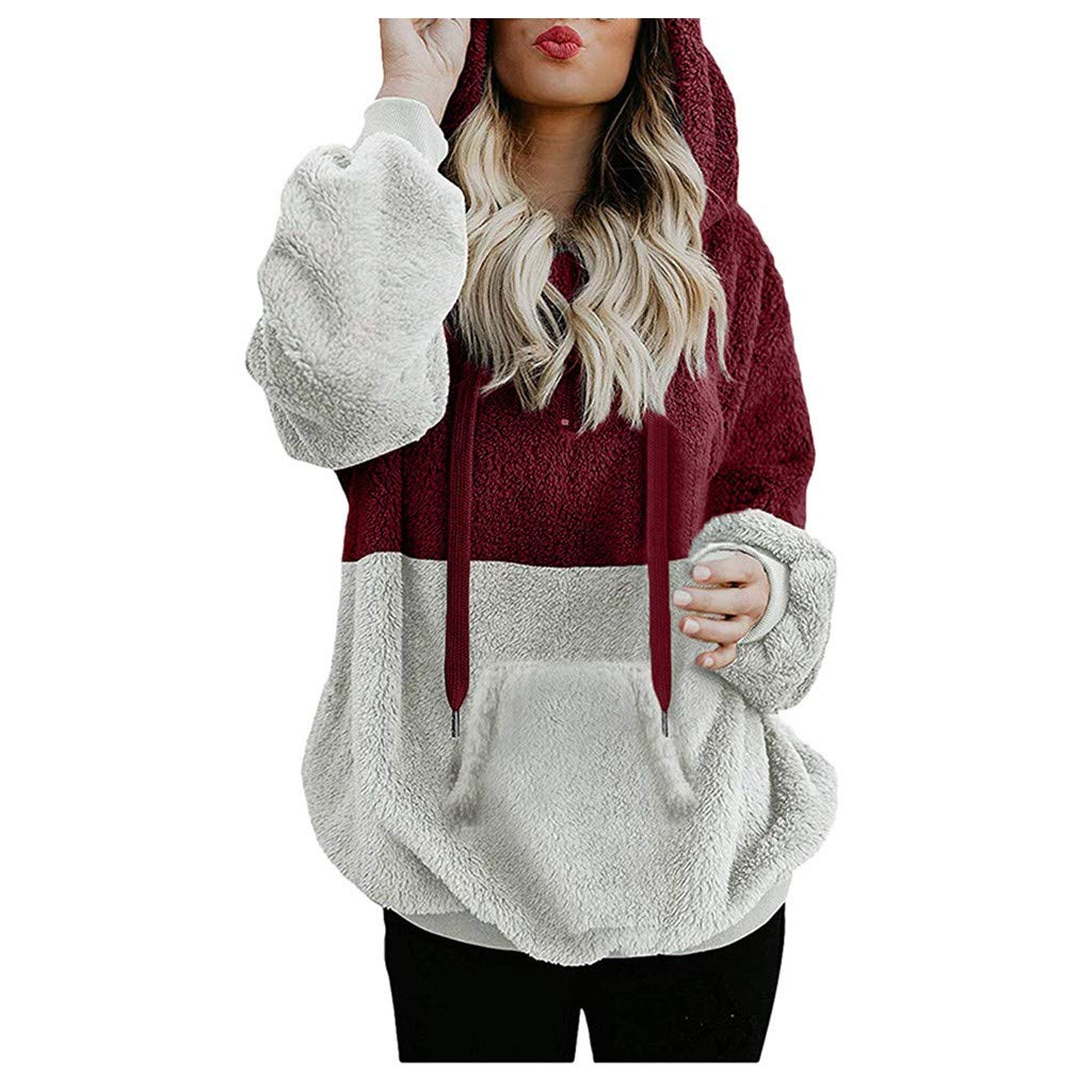 ✪COOLGIRLS✪~Clothing Womens Oversized Warm Zipper Hoodies Casual Loose Pullover Hooded Sweatshirt Wine by ✪COOLGIRLS✪~Clothing