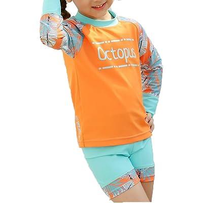 Ababalaya Girls Tropical Print Rashguard Swimsuit Trunk Set UPF 50+ Sun Protection 2-8T