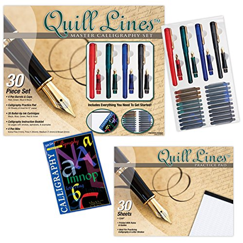 (Creative Mark Quill Lines Master Calligraphy Pens Set - Lettering Pens w/Nibs, Fountain Ink Cartridges, Practice Pad, Instructional Booklet for Beginners - [Master Set] )