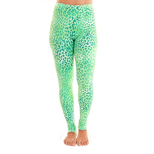 84905fb280079 Liquido Active Women's Extra Long Patterned Yoga Legging Green Leopard Small