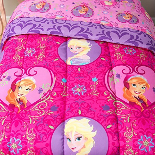 Disney Frozen Twin Comforter Pink Purple Elsa Anna