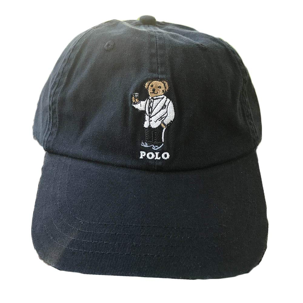 HoJinn Men Women Beach Bear Hat Baseball Cap Polo Style Unconstructed Fashion Unisex Dad Cap Hats (Navy Martini Bear)