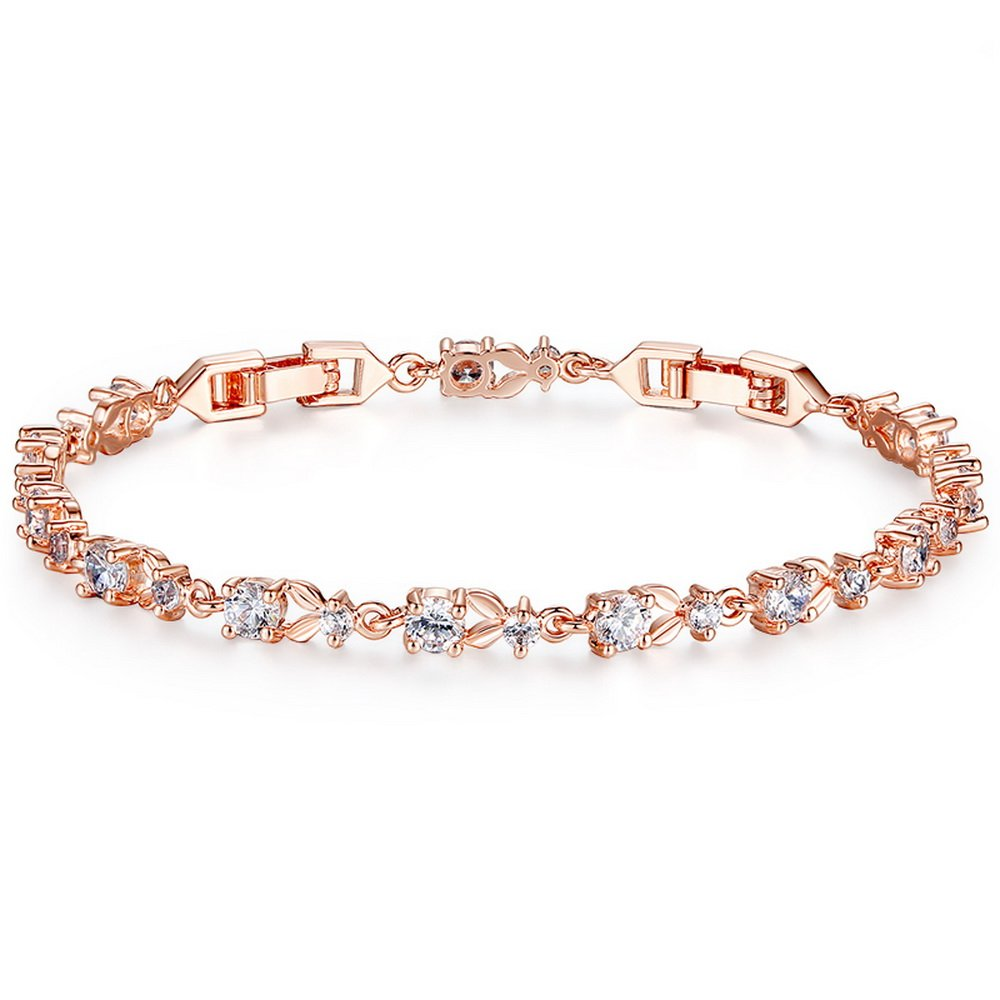 PAHALA Luxury Plated 6 Colors Pendant Eurpoean Chain with Crystals Charm Bracelet Bangles