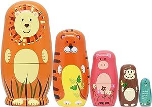 Tphon Russian Nesting Dolls Wooden Matryoshka Dolls for Kids Handmade Cute Cartoon Animals Pattern Nesting Doll Toy Stacking Doll Set of 5