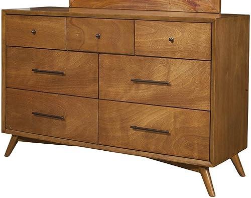 Alpine Furniture Flynn Mid Century Modern 7 Drawer Dresser, 56 W x 19 D x 36.5 H, Acorn
