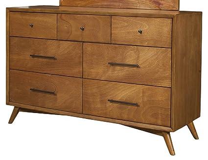 Flynn Mid Century Modern 7 Drawer Dresser In Acorn Finish Parocela Drawer Dresser L78