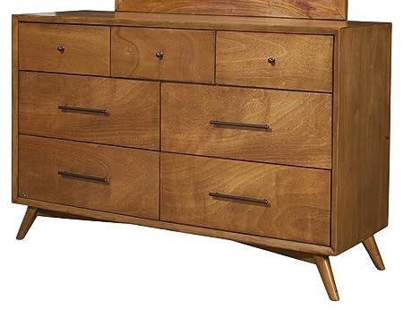 Flynn Mid Century Modern 7 Drawer Dresser In Acorn Finish by Alpine Furniture