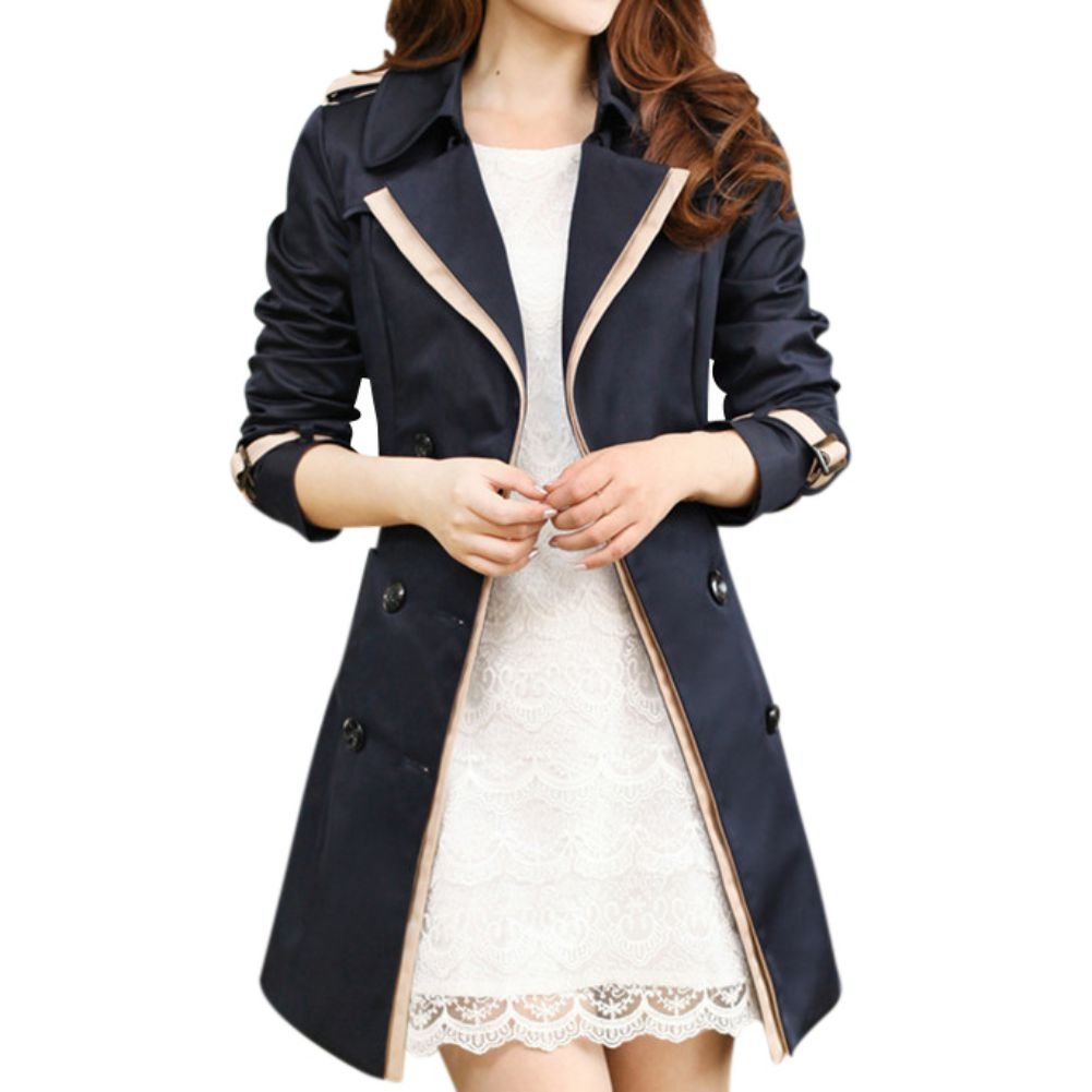 ELINKMALL Women's Elegant British Style Double Breasted Trench Coat with Belt (2XL, Black) by ELINKMALL