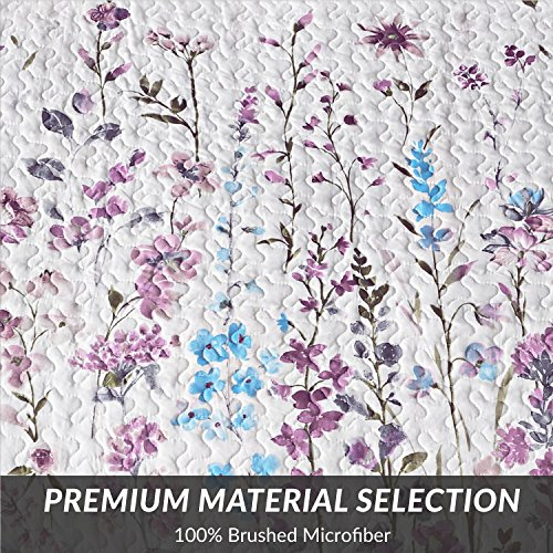 """Bedsure Printed Quilt Coverlet Set Full/Queen(86""""x96"""") Lilac Floral Pattern Lightweight Hypoallergenic Microfiber Bouquet"""
