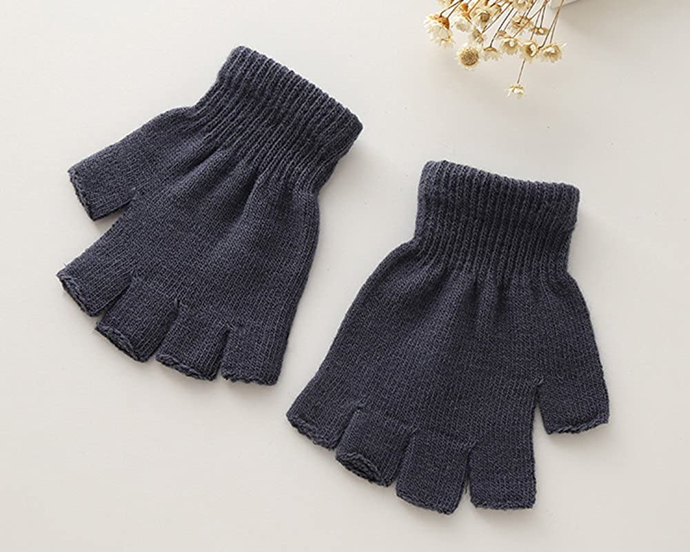 X/&F Boys and Girls Solid Knitted Half Finger Mittens Typing Gloves Small