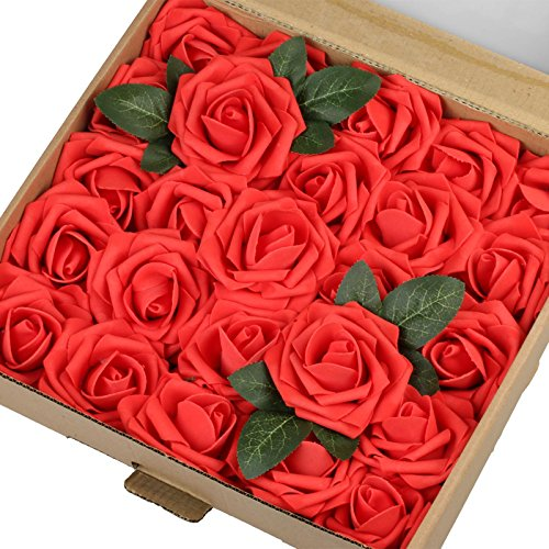 Vlovelife 25pcs Red Roses Artificial Flowers Real Looking Fake Roses w/Stem for DIY Wedding Bouquets Centerpieces Arrangements Birthday Baby Shower Home Party Decorations (Red Centerpiece)