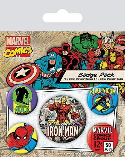 Pyramid International Marvel Retro - Badge Pack Iron Man: Amazon ...