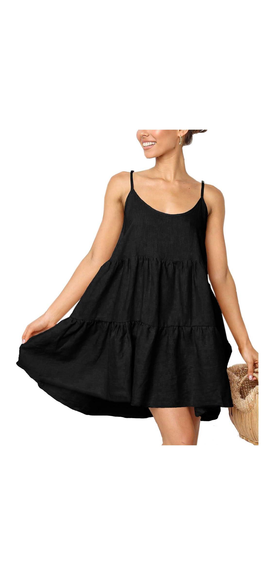 Spaghetti Strap Dress For Women Pleated Swing Dress Casual