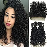"""RISSING 360 Frontal with 2 Bundles Deep Curly Hair, Brazilian Curly Hair Bundles Deals Remy Human Hair Extensions Free Part 8A Soft Thick (16""""18"""" & 14"""" )"""