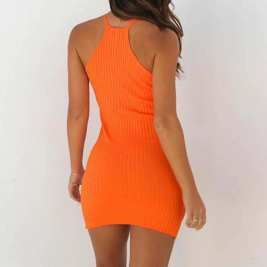 Ansenesna Kleid Sommer Damen Kurz Eng Party Mini Sommerkleider Retro /Ärmellos Neckholder Clubwear Schwarz Orange