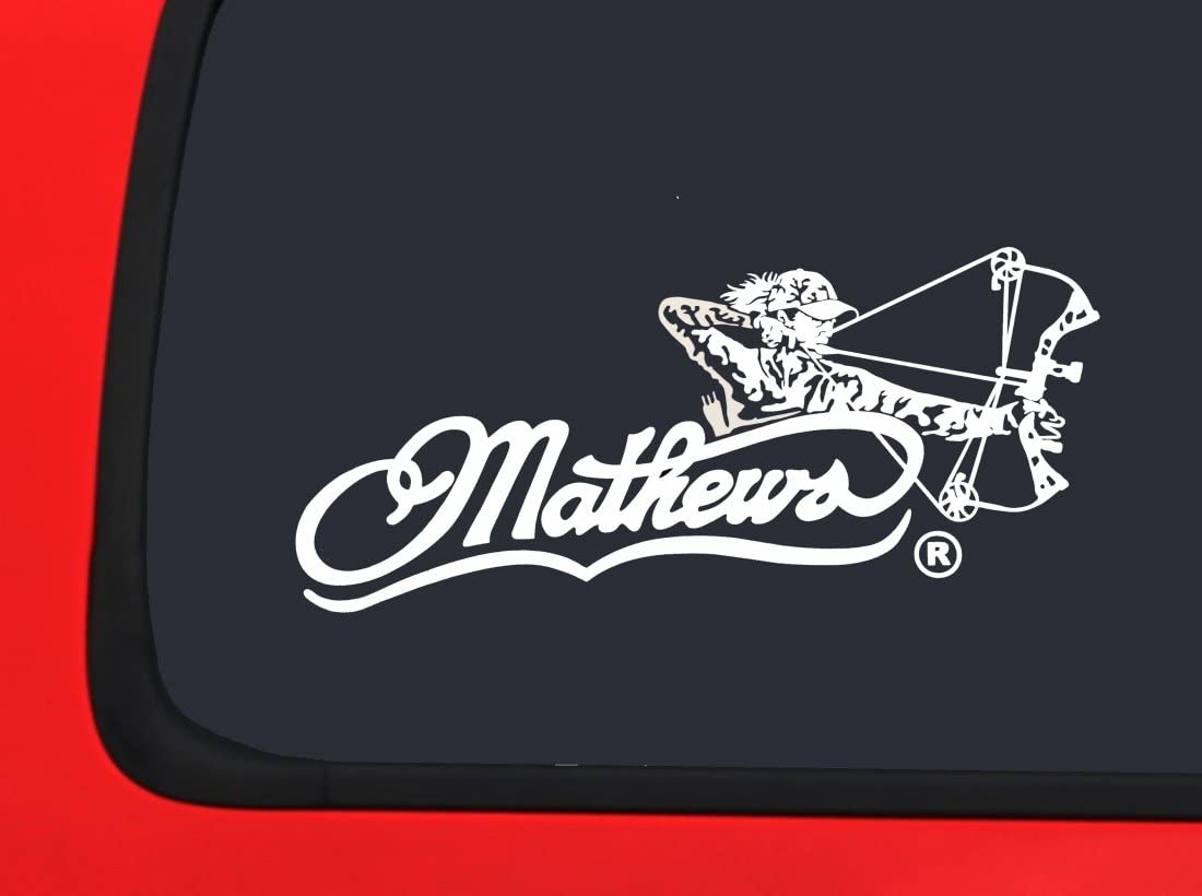 Mathews Archery Logo with Arrow White Hunting window decal sticker