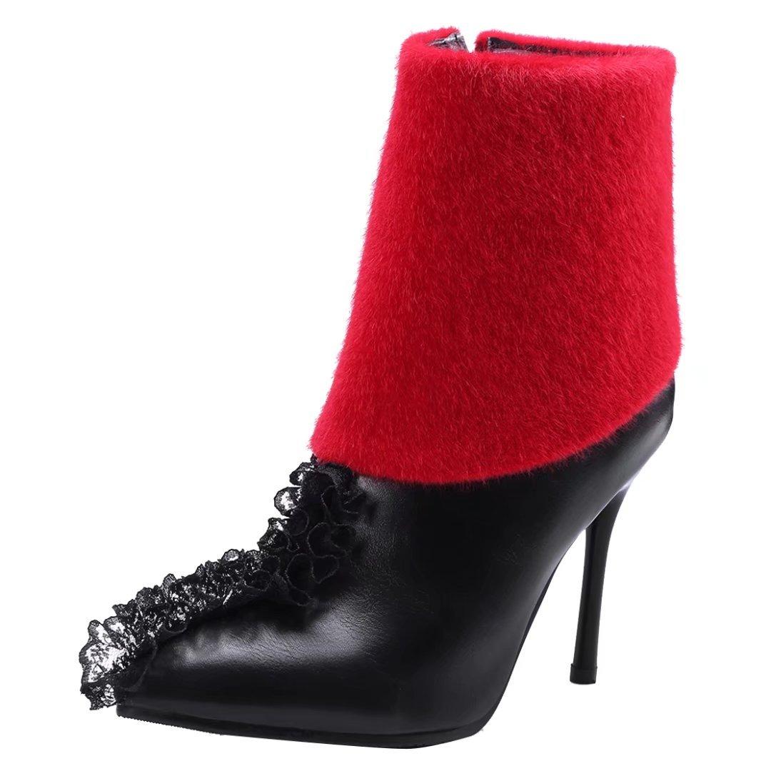 AIYOUMEI Damen Stiletto Reißverschluss Stiefeletten mit Spitzen und 10cm Absatz High Heels Herbst Winter Stiefel HZUKhpLa