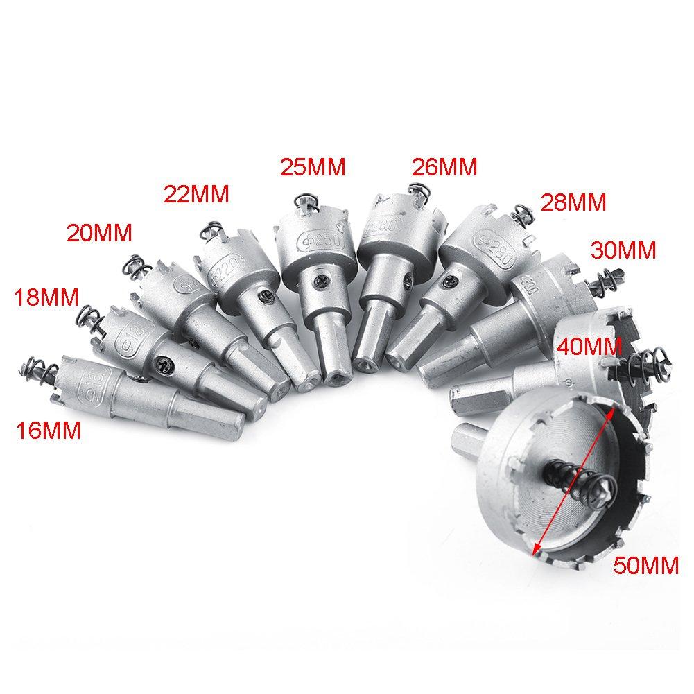 punta de carburo Juego de herramienta cortadora para metalister/ía TCT Core 10 piezas 16//18//20//22//25//26//28//30//40//50 mm Akozon Juego de sierra perforadora HSS