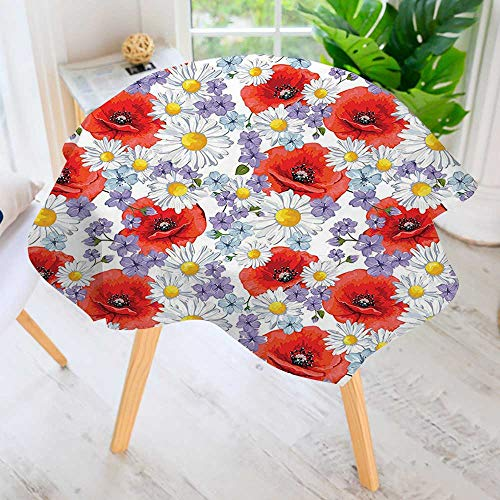 Modern Poppies Printed (aolankaili Hand Screen Printed Tablecloth-Poppy Poppy and Daisy Blooms Wild Graphic Modern Printed Spill Proof Cloth Round Tablecloths 71