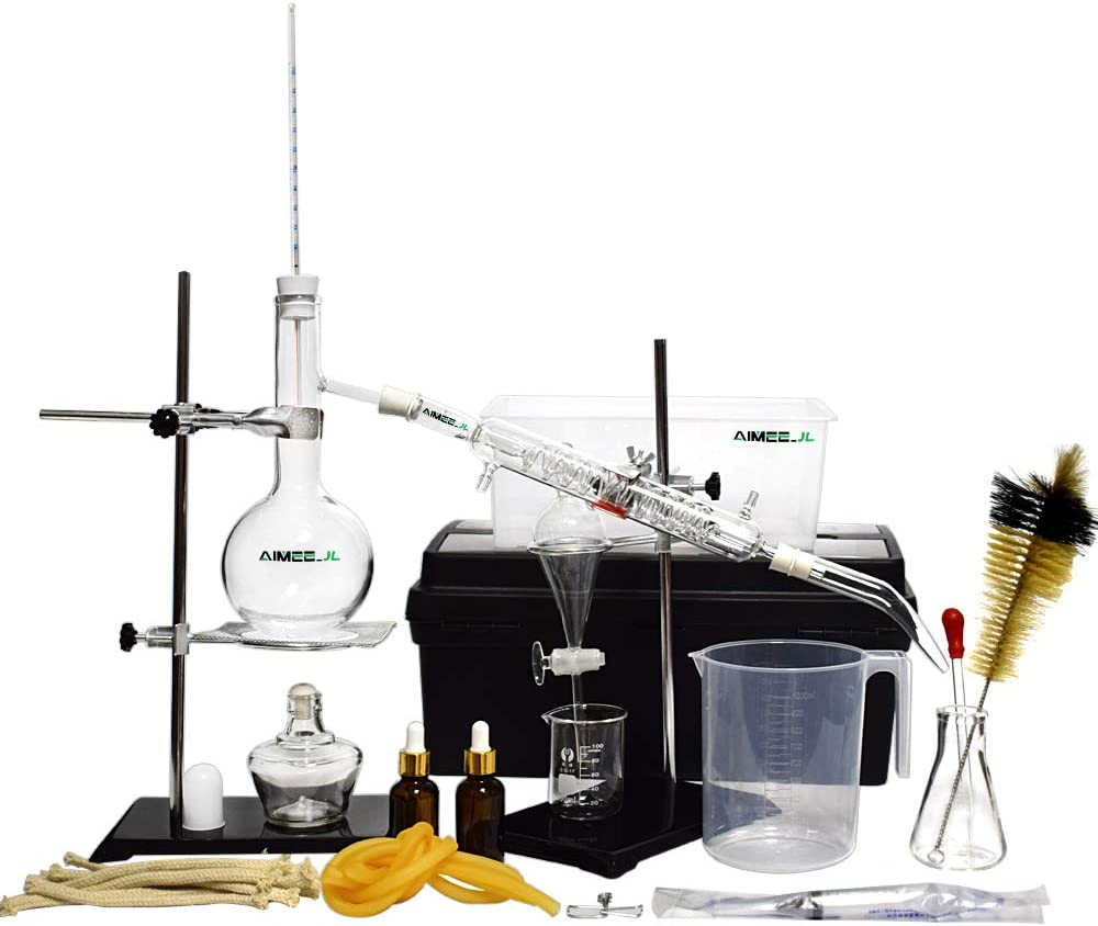 New Distillation Device Set Pure Hydrosol/Water/Home Distiller Essential Oil Extraction Chemical Experiment Equipment,Moonshine, Alcohol Distiller 20pcs Set, 500 ML