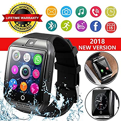 Smart Watch,Smart Watches,Smartwatch for Android Phones, Waterproof Smart Wrist Watch Touchscreen with Camera Bluetooth Watch Cell Phone Compatible Android Samsung iOS XS XR X 8 7 6 (Black)
