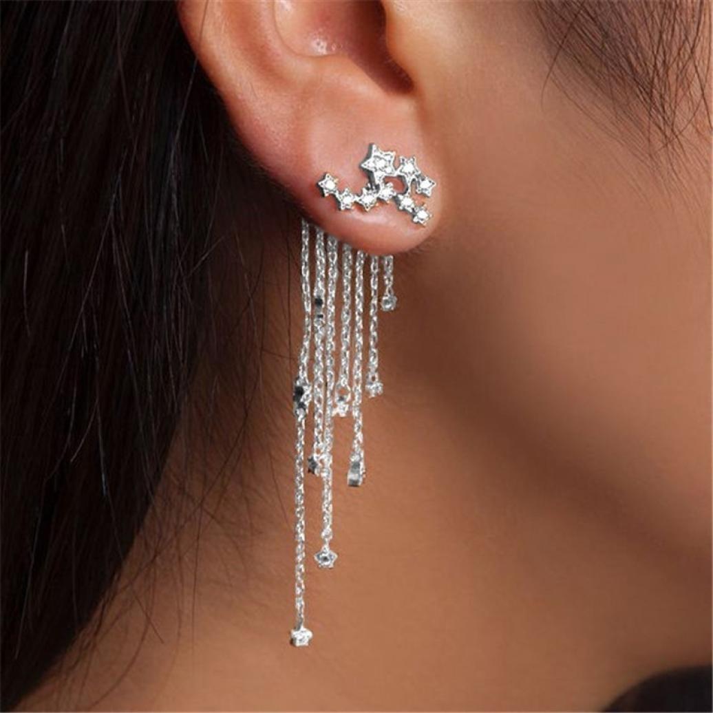 Auwer 2019 Tassels Drop-Earrings ! Shooting Star Rhinestone Long Tassels Drop Hook Dangle Earrings Gold Silver (Silver)