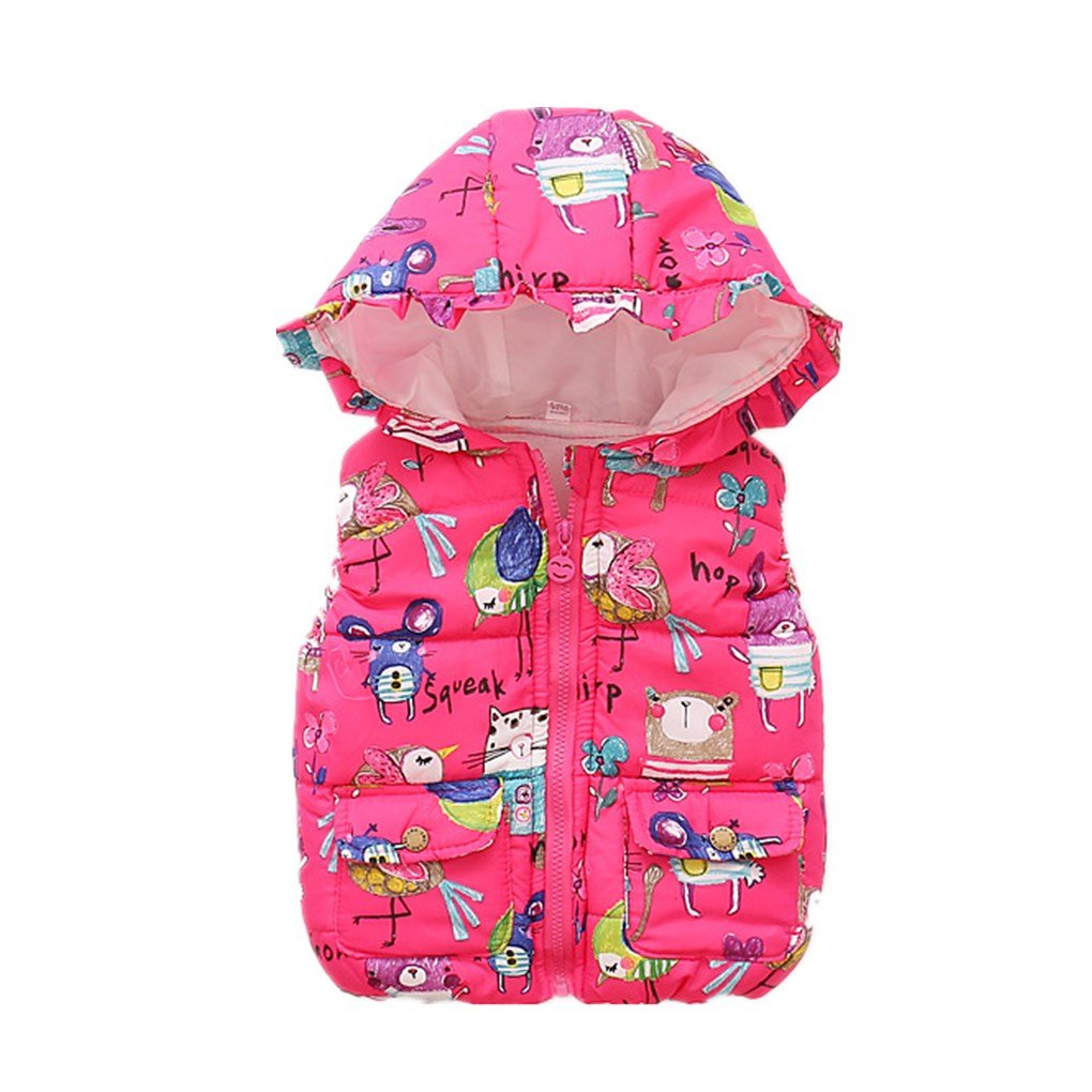 Newest Girls Outerwear Thick Animal Graffiti Kids Vest Hooded Baby Girls Warm Waistcoat