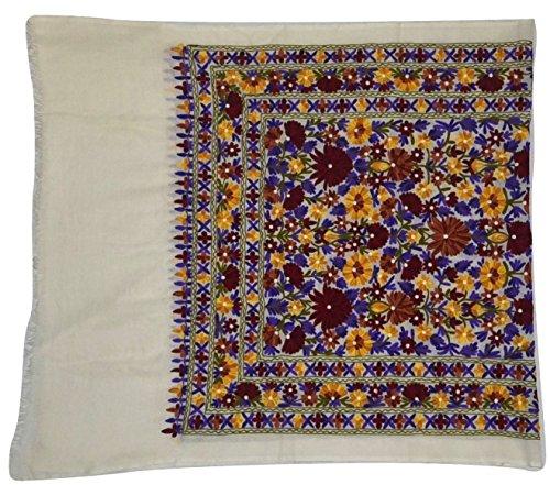 "Hand Embroidered ARIJAMA on Oversize(44"" X 80"")100% Merin..."