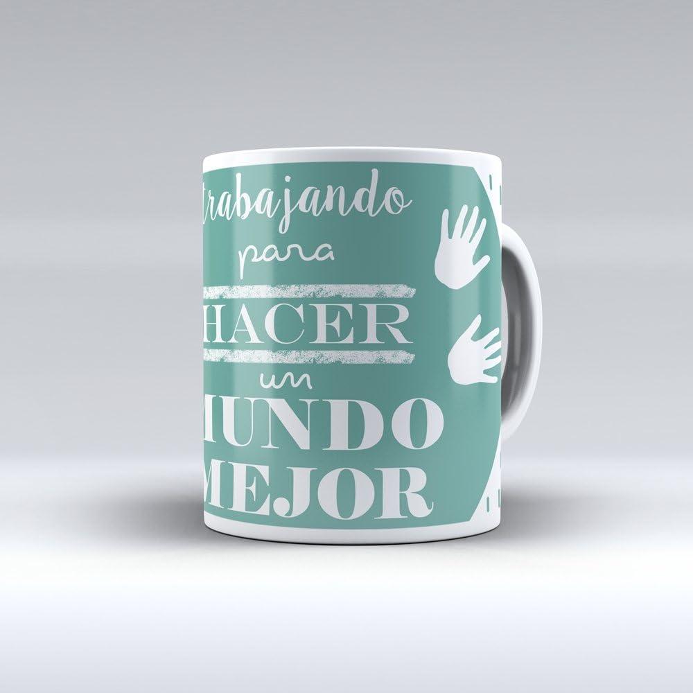 APRIL Taza cerámica Desayuno Regalo Original profesión educadora Social, educador, pedagoga, pedagogo Trabajando para Hacer un Mundo Mejor