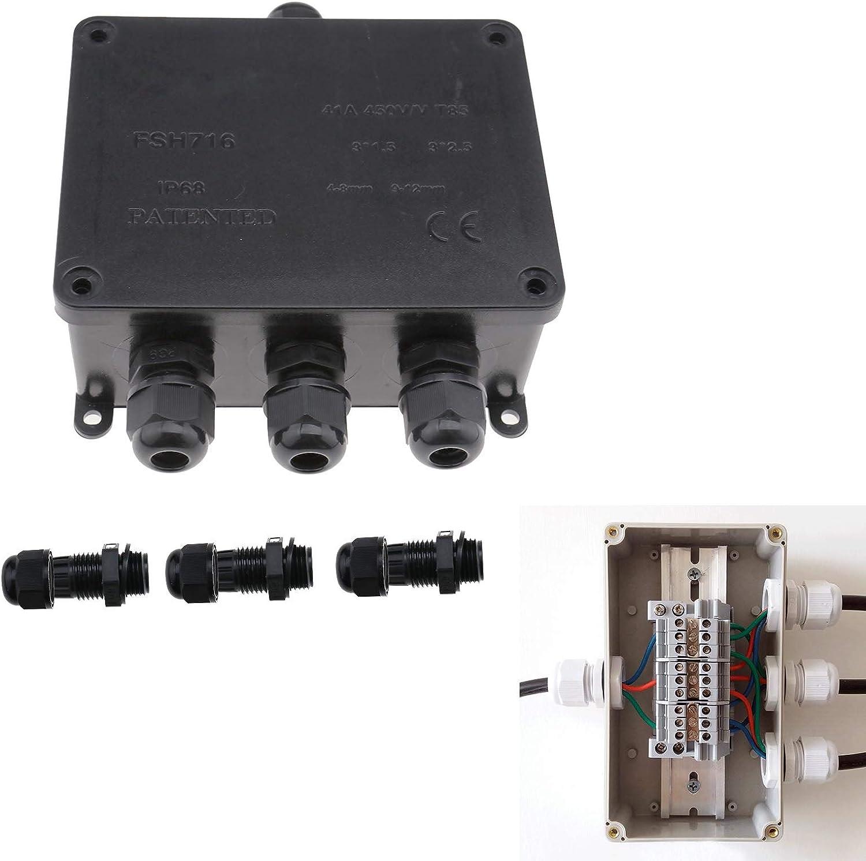 IP68 caja de derivación impermeable, 4 conectores de cable eléctrico para exteriores, kit de caja de conexiones con accesorios de instalación Underground Cable Protection CE Mark negro: Amazon.es: Bricolaje y herramientas