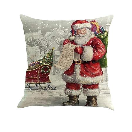 Asien Cubierta de Almohadas de Navidad Decoración de Banda Funda de Almohada del sofá Cojín de Santa Claus
