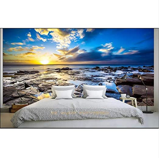 Custom 3d Photo Wallpaper Bed Room Mural Sunglow Sea Rock