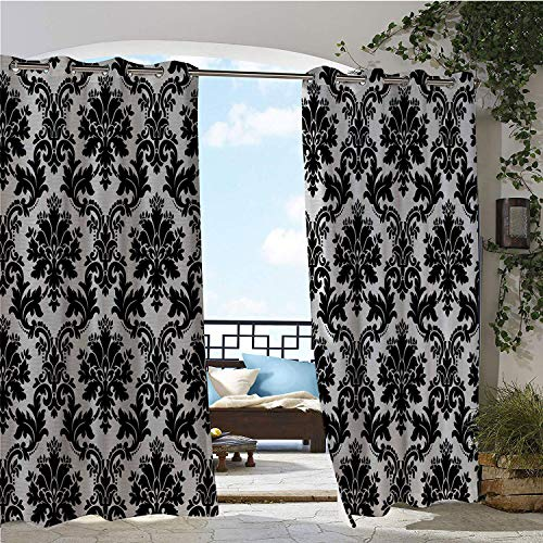- Patio Waterproof Curtain Damask Vintage Style Pattern Classical Victorian Interior Design Elements Floral Print Black and White pergola Grommets Decor Curtains 96 by 108 inch