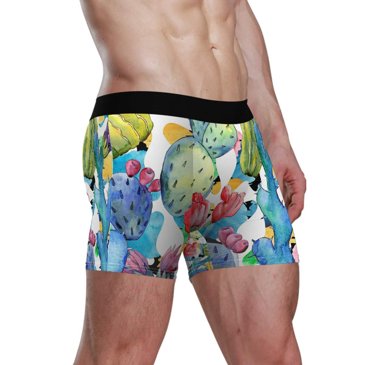 Tropical Plants Watercolor Vipsk Seamless Stretch Mens Polyester Boxer Briefs Underwear 1-Pack Set