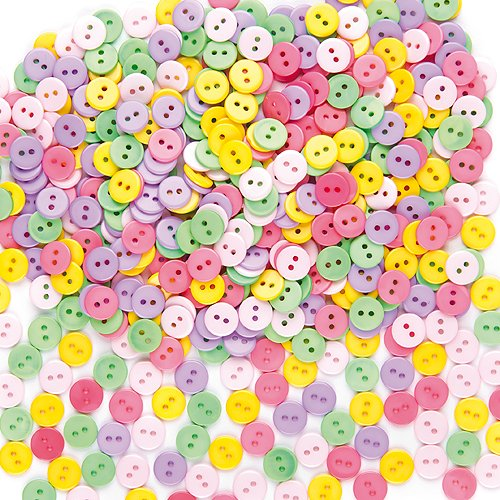 Mini Round 2 Hole Plastic Buttons Size 11mm 5 Assorted Colors Kids Art & Crafts Sewing Collage Scrapbooking (Pack of 250)