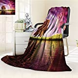 Nalohomeqq Magic Home Custom Collection Supernatural Sky Scenery with Mystical Northern Solar Lights and Star Clusters Neat Photo Microfiber Fabric Blanket Hypoallergenic Printed Fleece Blanket Purple