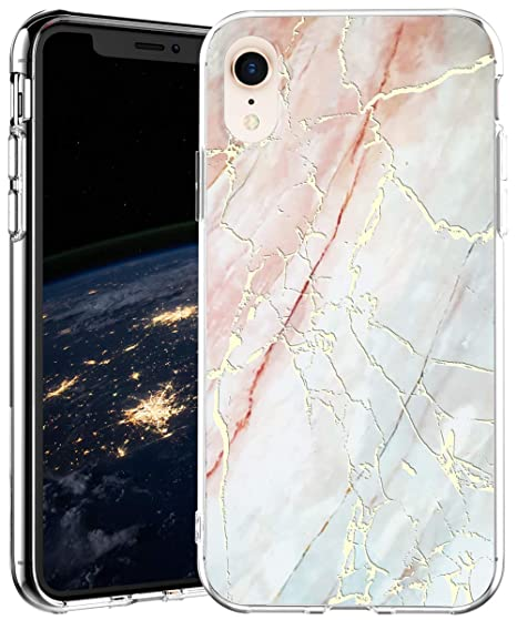 new products 4e647 96bf6 iPhone XR Case,IN4U Hard Back Marble Design Raised Edge Gold Foil 3D  Layered Effects Slim Fit Clear TPU Bumper Cover for 6.1 Inch iPhone XR Case  ...
