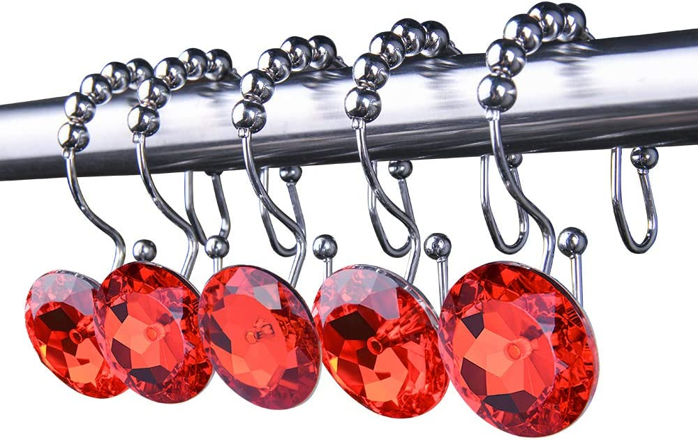 Looca Bling Big Crystal Shower Curtain Rings – Double Glide with 100% Stainless Steel Chrome Polished Hooks and Purple Decorative Rhinestones - Set of 12 (Red)