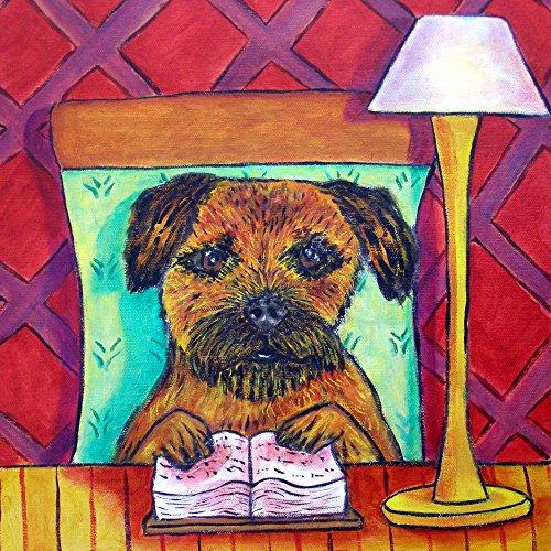 Border Terrier reading Library decor Dog art tile coaster gift - Border Terrier Prints