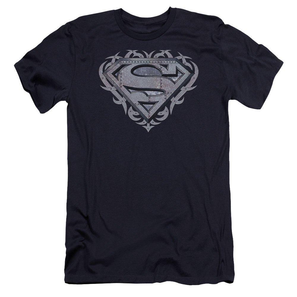 Superman Tribal Steel Shield Premium Adult Slim Fit T-Shirt