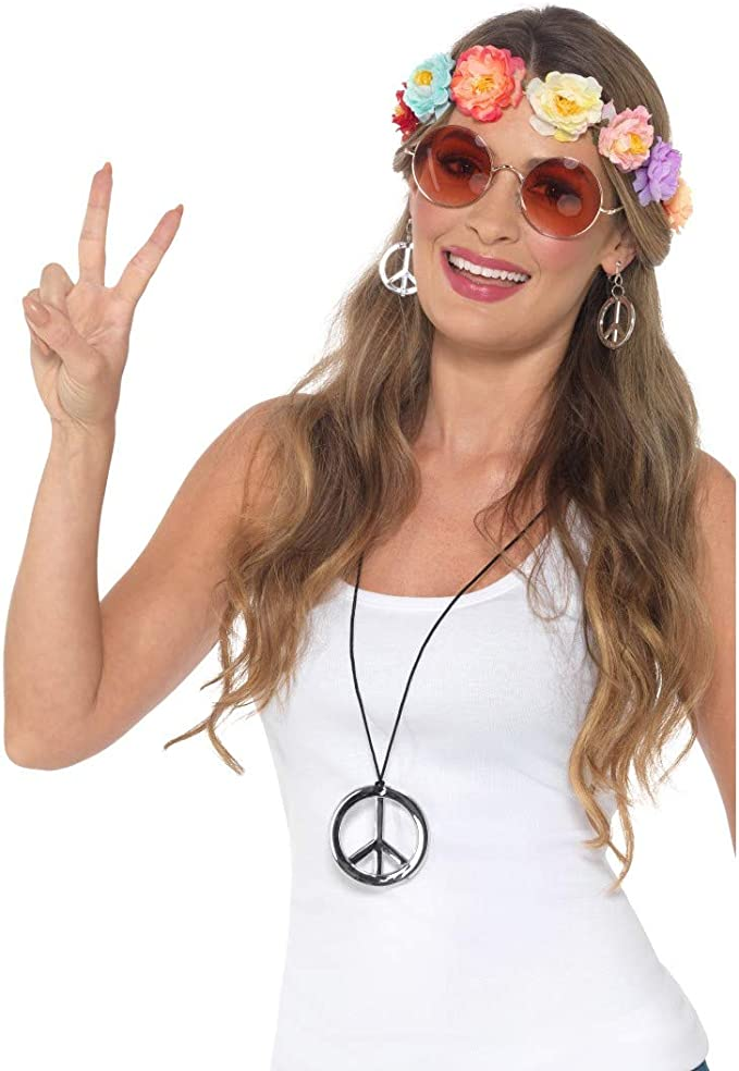 Hippie Kette mit Armband Schlagerparty Fasching Set 70er Jahre Flower Power Set