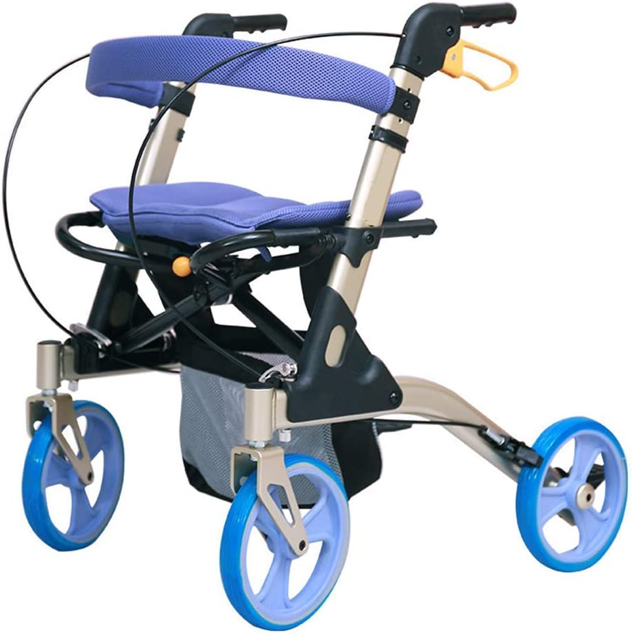 Idea Simple Andador con Ruedas Plegable de 4 Ruedas con Asiento Y Amplificador; Asiento de Bolsa de Almacenamiento Y Asiento de Altura Ajustable Ayuda de Movilidad para Adultos, Ancianos, Ancianos Y