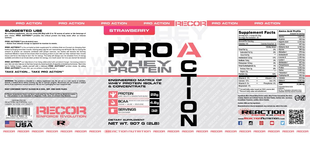 Reaction Nutrition Recor Pro Action Whey Protein, Strawberry, 2 Pound