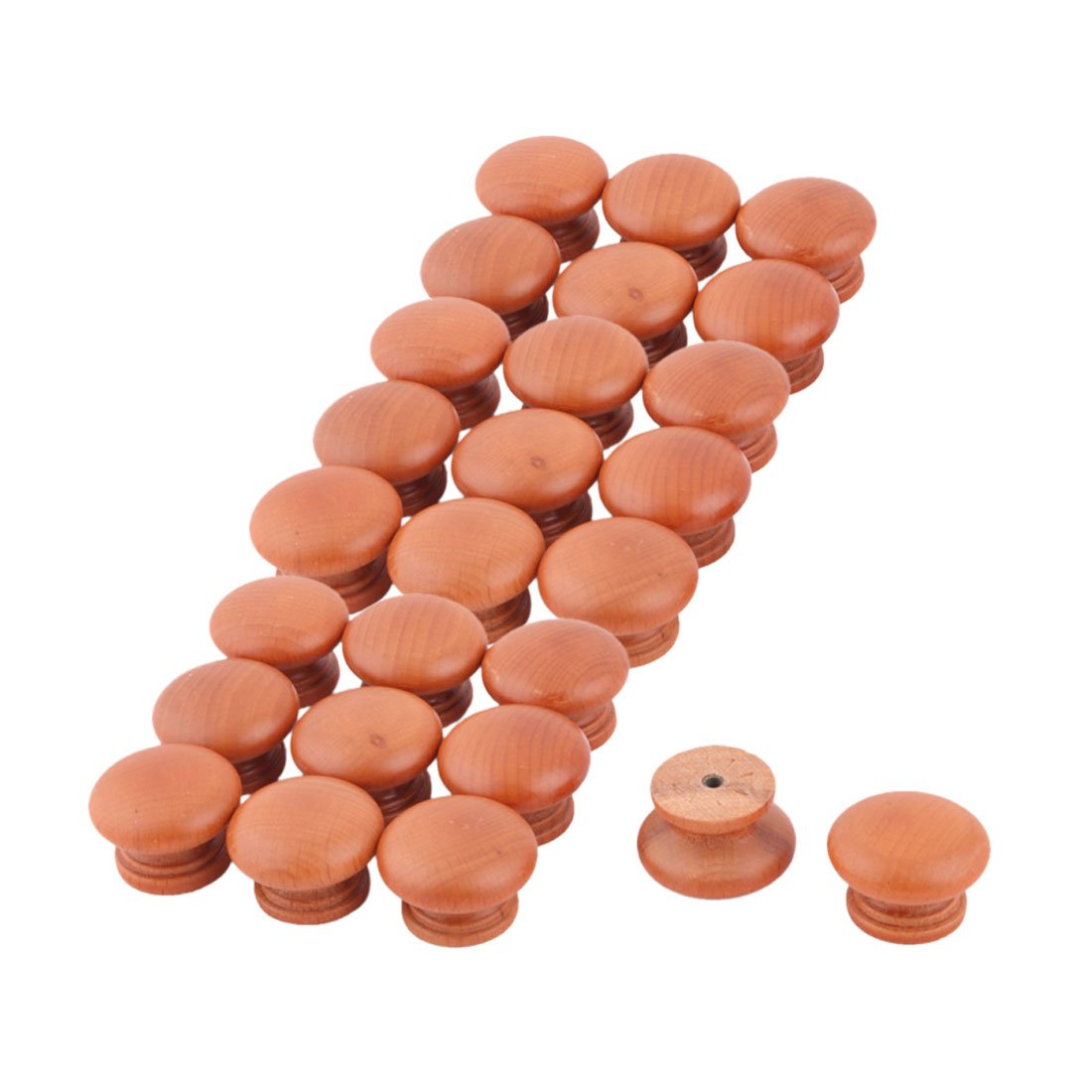 uxcell Wood Family Round Single Hole Garderobe Door Pull Handle Grip Knob 26pcs Brown
